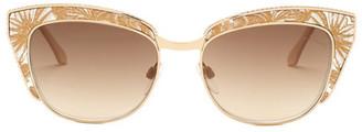Roberto Cavalli Women's Sauloclin Metal Cat Eye Sunglasses $470 thestylecure.com