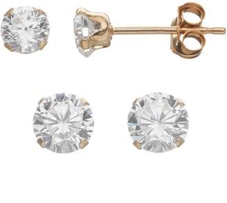 2facc6c9f Taylor Grace Cubic Zirconia 10k Gold Stud Earring Set