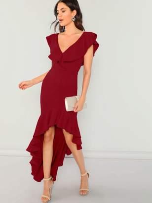 Shein Ruffle Dip Hem Fitted Dress