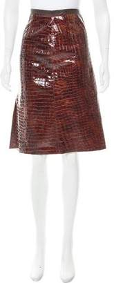 BCBGMAXAZRIA Patent Leather A-Line Skirt