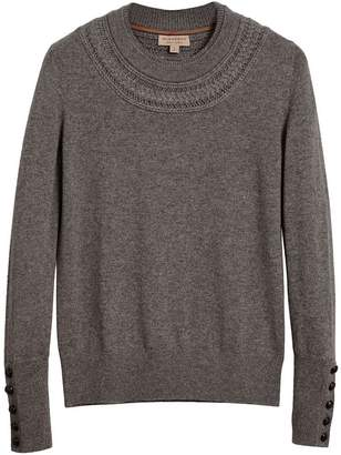 Burberry cashmere cable knit yoke sweater
