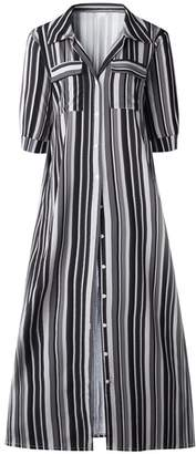 Goodnight Macaroon 'Emily' Color Striped Button Front Maxi Dress (4 Colors)