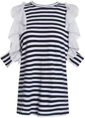 Clu Ruffled Silk-Trimmed Striped Cotton-Jersey Top