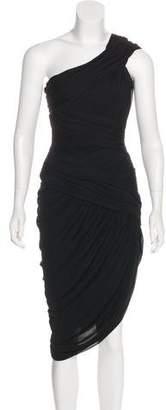 Halston One-Shoulder Knit Dress