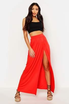 boohoo Thigh Split Floor Sweeping Maxi Skirt
