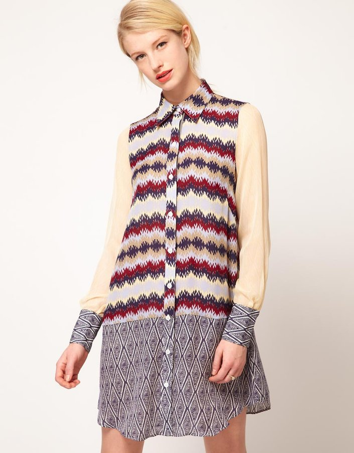 Nahm Shirt Dress With Zig Zag & Diamond Print