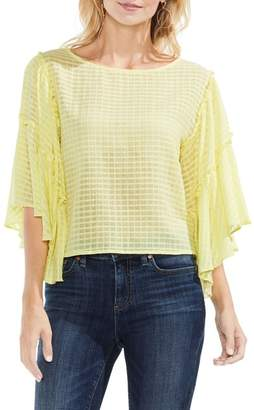 Vince Camuto Grid Drop Shoulder Ruffle Sleeve Blouse