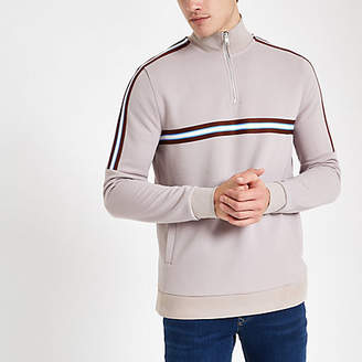 River Island Stone funnel neck slim fit zip-up sweatshirt