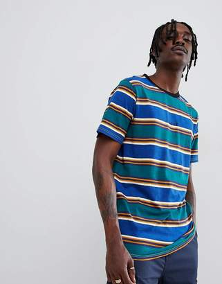 Globe Stripe T-Shirt with Chest Embroidery in Ombre Blue
