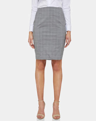 Oxford Monroe Wool Lycra Check Suit Skirt
