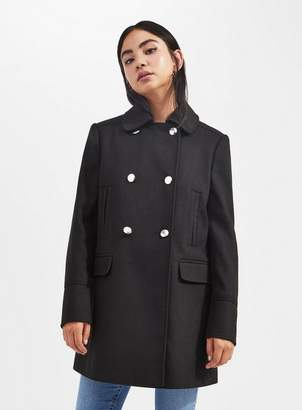 Miss Selfridge Petite black pea coat