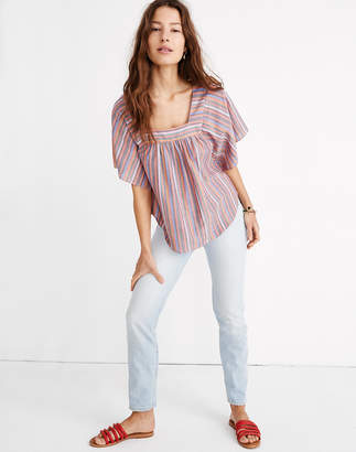 Madewell Butterfly Top in Rainbow Stripe
