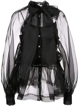 Jourden sheer panel silk top