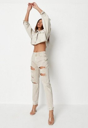 Missguided Sand Extreme Ripped Mom Rigid Jeans