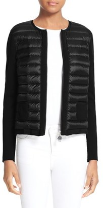 Women's Moncler Maglia Quilted Down Front Tricot Cardigan $550 thestylecure.com