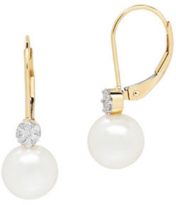 Lord & Taylor 14K Yellow Gold Diamond and Pearl Drop Earrings 0.112 TCW $1,134 thestylecure.com