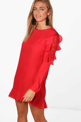 boohoo Lace and Ruffle Shift Dress