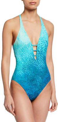 Carmen Marc Valvo Printed V-Neck One-Piece Swimsuit