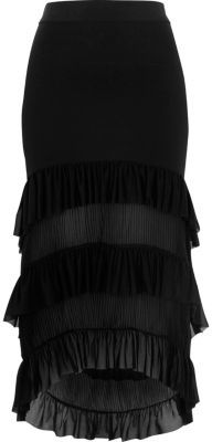 River IslandRiver Island Womens Black tiered high-low pleated maxi skirt