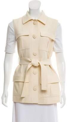 Oscar de la Renta Belted Button-Up Vest