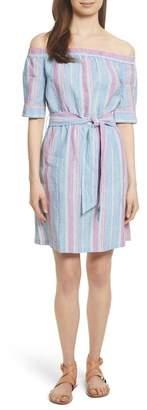 Frame Stripe Off the Shoulder Linen Dress