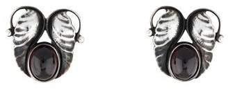 Georg Jensen Garnet Leaf Clip-On Earrings