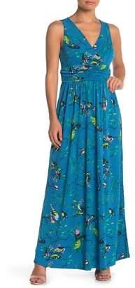 Leota Bird Print Surplice Sleeveless Maxi Dress