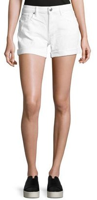 True Religion Emma Cuffed Denim Bermuda Shorts, Optic White $149 thestylecure.com