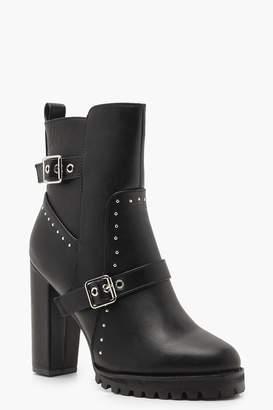 boohoo Studded Cleated Platform Shoe Boots
