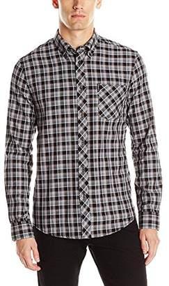 Ben Sherman Men's Long Sleeve Herringbone Check Button Down Shirt