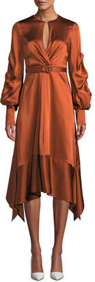 Jonathan Simkhai Fluid Satin Keyhole Asymmetric Midi Dress