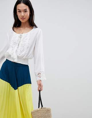 boohoo Long Sleeved Broderie Blouse