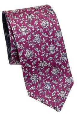 Saks Fifth Avenue COLLECTION Double Face Flower Silk Tie
