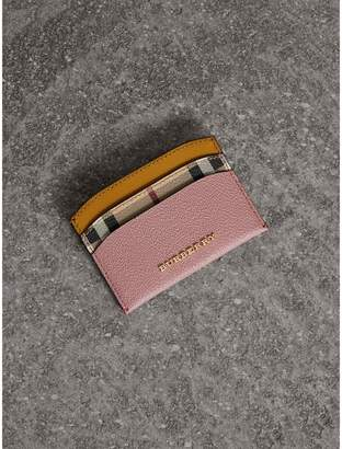 Burberry Colour Block Leather and Haymarket Check Card Case
