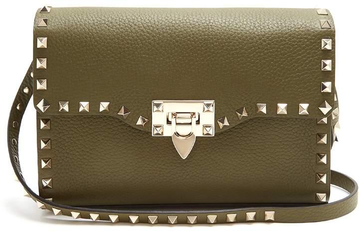 VALENTINO Rockstud grained-leather cross-body bag