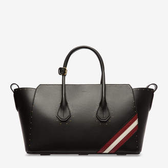 Bally Sommet Medium Black, Women's medium plain calf leather top handle bag in black