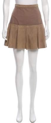 Halston Suede Flared Mini Skirt