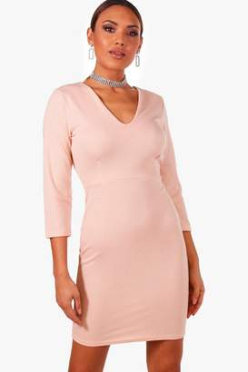 boohoo Long Sleeve V-Neck Bodycon Dress