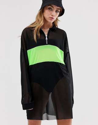 5dec32cf38b The Ragged Priest t-shirt dress in sheer mesh with neon panel