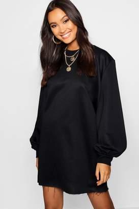 boohoo Balloon Sleeve Oversized Sweatshirt Dress