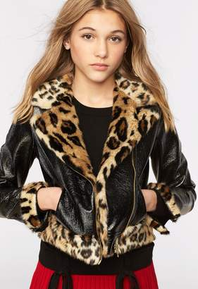 Milly Minis MillyMilly Crinkle Patent Leather Minis Moto Jacket