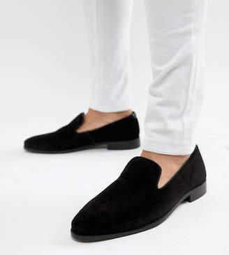 Dune Wide Fit Loafers In Black Velvet
