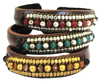 Nakamol Designs - Leather Beaded Bracelet **3 Colors**
