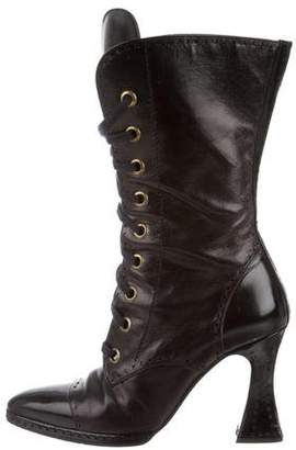 Chanel Pointed-Toe Mid-Calf Boots