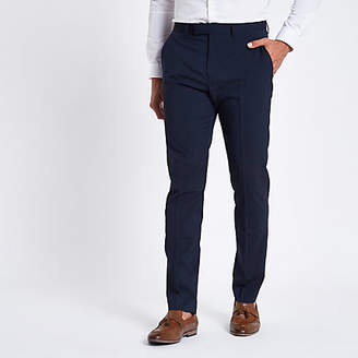 River Island Mens Dark blue stretch slim fit suit trousers