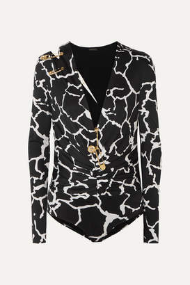 Versace Embellished Cutout Printed Satin Bodysuit - Black