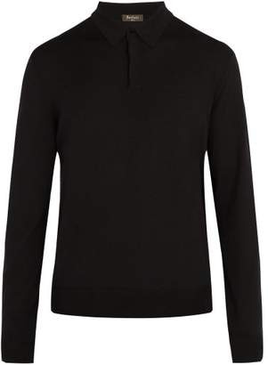 Berluti - Knitted Long Sleeved Wool Polo Shirt - Mens - Black