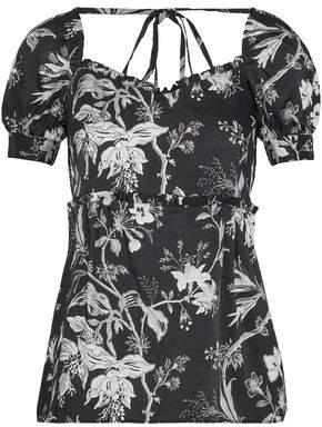 McQ Ruffle-Trimmed Floral-Print Satin-Twill Top