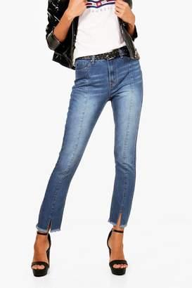 boohoo Tall Panelled High Waisted Side Split Jean