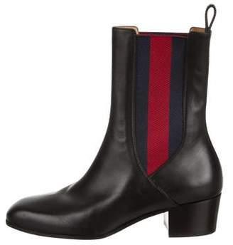 Gucci Square-Toe Web Ankle Boots